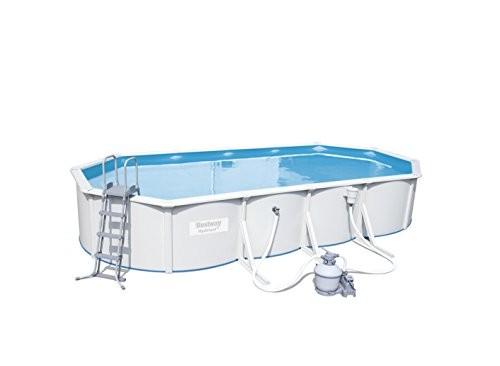 Bestway hydrium oval white steel wall pool set 740 x 360 for Swimming pool 120 cm tief