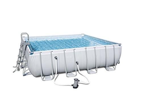 Bestway Frame Pool Power Steel Square Set Grey 488 X 488