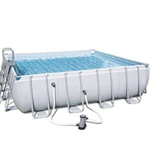 Best Swimming Pool for Garden 'Bestway Frame Pool Power Steel Square Set Grey 488x 488x 4824.031L 56626/05