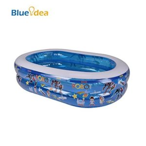 Best Swimming Pool for Garden Blueidea® Children Inflatable Swimming Pool Family Swimming Pool Large PVC Inflatable Pool Annular Bubble Bottom with Air Pump (Blue)