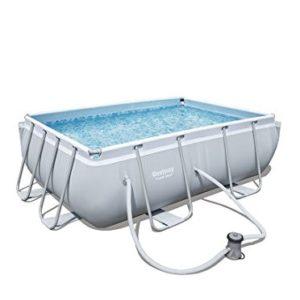 Best Swimming Pool for Garden 'Bestway Frame Pool Power Steel Set Grey/282x 196x 84cm, 3.662L 56629/05