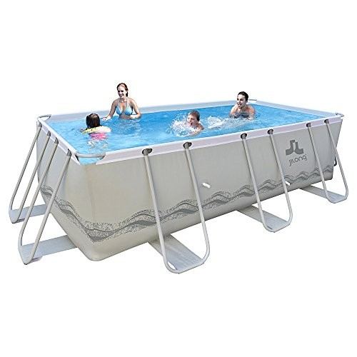 Best Swimming Pool for Garden Jilong Passaat Grey 400 Set - steel frame pool 400x200x99cm, rectangular pool with cartridge filter pump and ladder