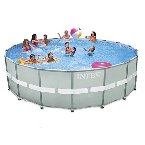 Intex 18ft x 52 ultra frame above ground pool with sand for Garden pool accessories