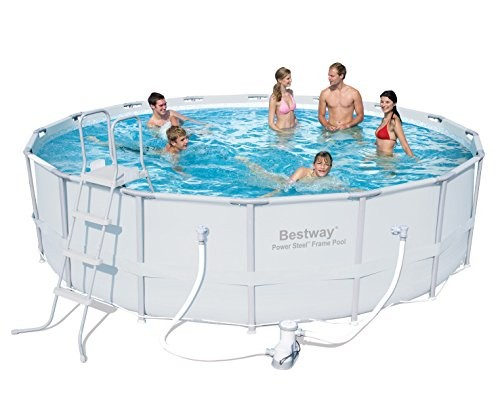 Bestway Power Steel Frame Swimming Pool Set Round Above Ground 16ft X 48inch With Filter Pump