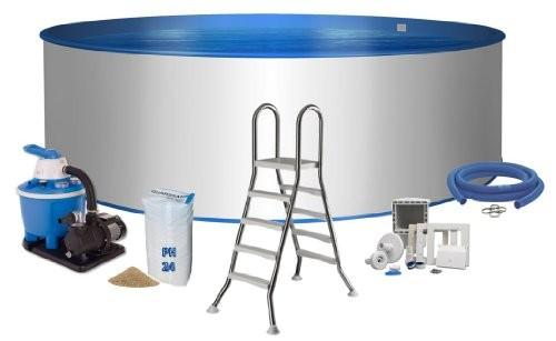 Best Swimming Pool for Garden Premium Rundpool 4,00 M x 1,20 Steel Wall 0.6 MM Blue / 0.8 MM, with Keilbiese Einbauskimmer Einlaufdüse, Edelstahlleiter, Sand filter FLOW5 with Sand, Hose Connector Set