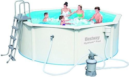 Bestway piscina redonda de chapa reforzada hydrium color for Swimming pool 120 cm tief