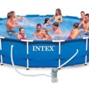 Best Swimming Pool for Garden Intex Light 54942 - Pool Frame 457 x 91, I.1, Filter Pump, Ladder, base-copertura Towel