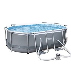 """Best Swimming Pool for Garden 'Bestway Frame Pool """"Power Steel Place Mat, Oval, Grey, 300x 200x 33cm 3.668L 56617/05"""