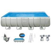 Best Swimming Pool for Garden Intex Pool 549x274x132cm Swimming Pool Steel Wall Metal Frame with Intex Sand Filter Pump 10500L/H, Ladder, Solar film