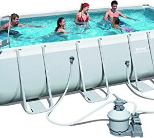 "Best Swimming Pool for Garden Bestway Power Steel Rectangular Pool 18ft x 9ft 48"" - 56466"