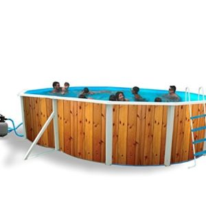 Best Swimming Pool for Garden White Coral Wood Effect Oval Steel Pool 5.5m x 3.66m