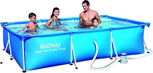 Best Swimming Pool for Garden Bestway Steel Pro 3.00m x 2.01m x 66cm - above ground pools (Blue, Frame, Rectangular, PVC, Steel, Steel, CE, TÜV Rheinland)