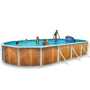 Best Swimming Pool for Garden White Coral Wood Effect Oval Steel Pool 9.15m x 4.57m