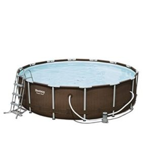 "Best Swimming Pool for Garden 'Bestway Frame Pool ""Power Steel Set in Rattan Look, Brown, 12.5 X 12.5 X 42 15.232 L 56647/05"