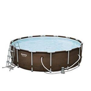 """Best Swimming Pool for Garden 'Bestway Frame Pool """"Power Steel Set in Rattan Look, Brown, 12.5X 12.5X 4215.232L 56647/05"""