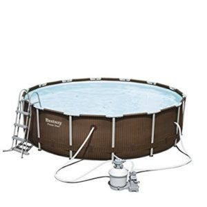 "Best Swimming Pool for Garden 'Bestway Frame Pool Power Steel Set in Rattan Look, Gray, 12.5 ""x 12.5 x 42 15.232 L 56650/05"