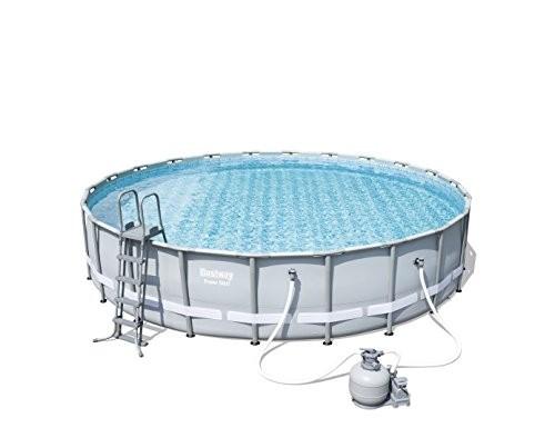 "Best Swimming Pool for Garden 'Bestway Frame Pool ""Power Steel Set Grey 671x 671x 132cm 40.377L 56634/05"