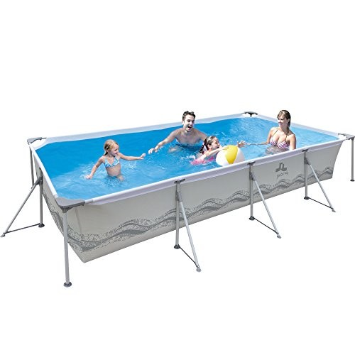 Best Swimming Pool for Garden Jilong Passaat Grey 394 - steel frame paddling pool, rectangular pool, 394x207x80cm