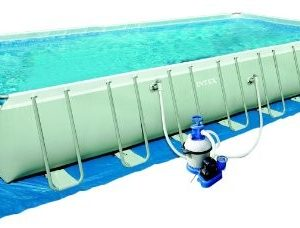Best Swimming Pool for Garden Intex 32ft x 16ft x 52in deep Ultra Frame Pool with sand filter pump, cover, ground cloth and ladder #28372
