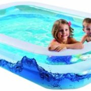 Best Swimming Pool for Garden Wehncke Water Wave 12242 Jumbo Pool with 2 Bulged Areas and Outlet Valve on Base 200 x 150 x 50 cm