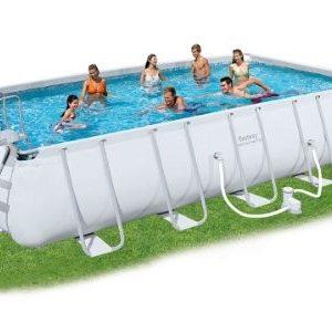 Best Swimming Pool for Garden Bestway Rectangular Frame Set Above Ground Pool - Grey, 22 Ft