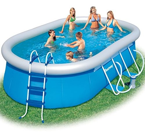 bestway oval fast set above ground swimming pool blue