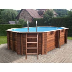 Best Swimming Pool for Garden Wood Pool Kit Oval Omega Grenade System. Liner Blue 60/100. 4M³/h SAND FILTER Scale in Wood External/Internal Stainless Scale, Skimmer and Rug. Dim: Ø East 436X 336H 119-Ø Int 403X 303H 116