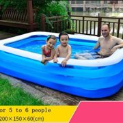 Best Swimming Pool for Garden baby child Inflatable swimming pool family Marine ball Pool adult Paddling pool Inflatable bath pool Water Playground large Transparent Blue ( Size : 200*150*60cm )