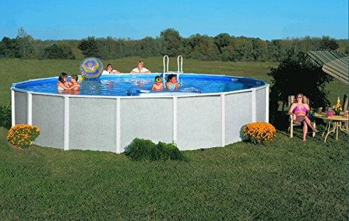 Interline 95069990 m doughboy graystone round pool grey best swimming pool for garden for Standard swimming pool size uk