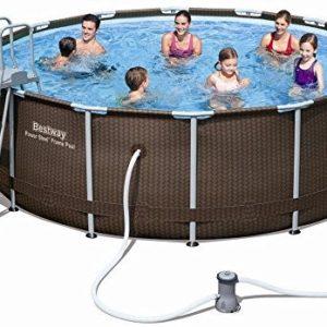 Best Swimming Pool for Garden Bestway Power Steel Rattan 3.66m x 1.00m, Brown/Blue - above ground pools (Brown/Blue, Brown, Frame, Round, PVC, Steel, 220 - 240)