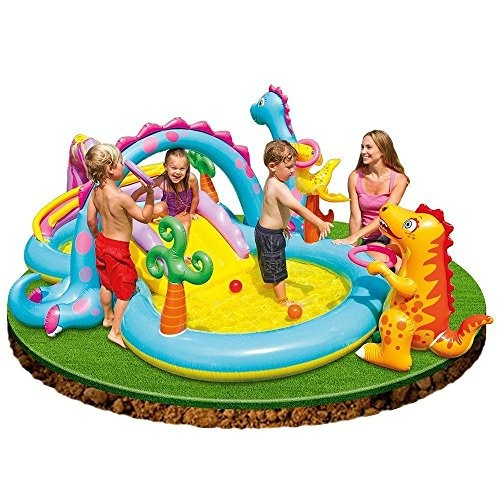 Dinoland water fun kids water play centre with pump kids for Best children s paddling pool