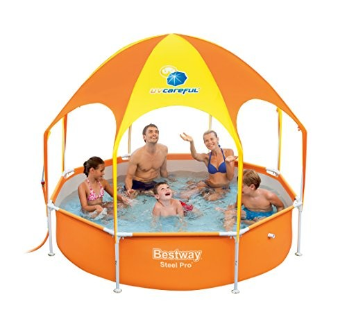 Best Swimming Pool for Garden Bestway Splash Frame Pool in Shade, with a Sun Canopy and Sprinkler 244 x 51  - Blue