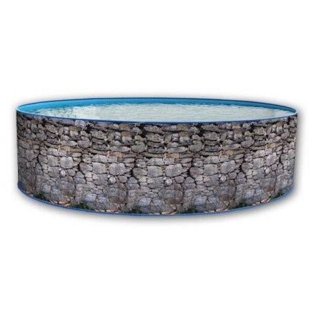 """Best Swimming Pool for Garden 450x90Above-Ground Swimming Pool Round Wall Stone Grey Lacquer Hard """"Toi"""