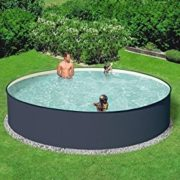 Best Swimming Pool for Garden Hanseatic Set: Round/Charcoal with Sand Filter System (6 Sizes) 300 cm, 90 cm