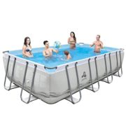 Best Swimming Pool for Garden Jilong Steel Frame Set Rectangular Pool With Filter Pump & Cartridge, Ladder, Ground/Tarpaulin/549 x 305 x 48-Inch, Mistral Grey