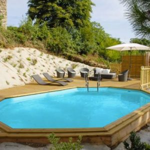Best Swimming Pool for Garden Wood Pool Kit Oval Omega Safran System. Liner Blue 75/100. Sand Filter 8M³/h. Scale in Wood External/Internal, Skimmer and Stainless Rug Scale. Dim: Ø East 637X 412H 133-Ø Int 590x 365H 130