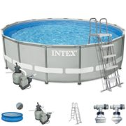 Best Swimming Pool for Garden Intex Premium Pool Complete Set 488 x 122cm with Sand Filter Pump, Safety Ladder and Solar Film Metal Wall Swimming Pool Frame