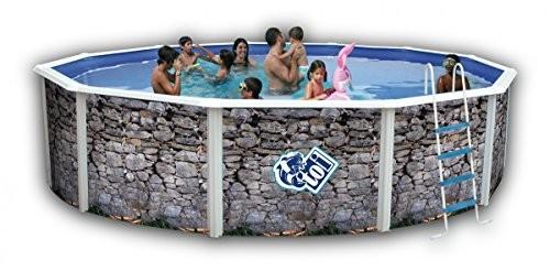 Best Swimming Pool for Garden Galvanised Circular 350X120Above-Ground Pool Rigid Wall Profile Fuchsias Circular Silver Luna Toi