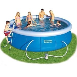 """Best Swimming Pool for Garden BESTWAY INFLATABLE FAST SET ROUND PADDLING SWIMMING POOL INCLUDING STEPS LADDER, COVER & GROUND CLOTH 15x42"""" A-BW57127"""