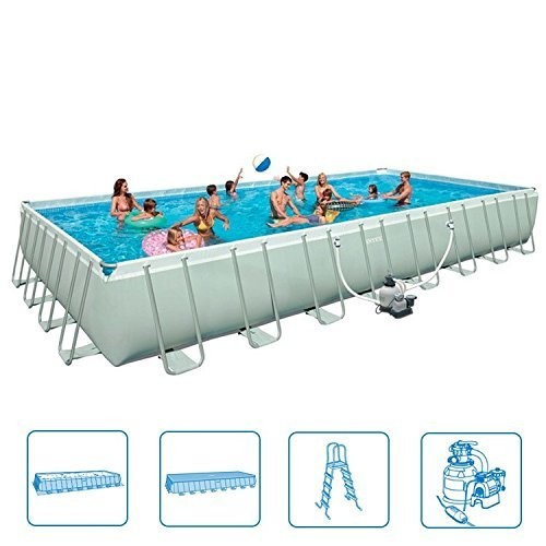 Best Swimming Pool for Garden Intex 32-Foot x 52-Inch Rectangular Ultra-Frame Swimming Pool - 4,000gph Filter