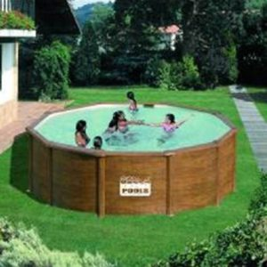 Best Swimming Pool for Garden gre m286545-Round Swimming Pool Steel Look Wood Galapagos kit460we