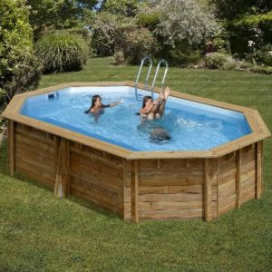 Best Swimming Pool for Garden Wood Pool Kit Oval Omega Cannelle System. Liner Blue 60/100. Sand Filter 6m³/h. Scale in Wood External/Internal Stainless Scale, Skimmer and Rug. Dim: Ø East 551X 351H 119-Ø Int 503x 303H 116